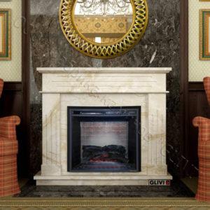 Мраморный каминный портал (облицовка) Рогнеда, каталог (интернет-магазин) каминов из мрамора, изображение, фото 1