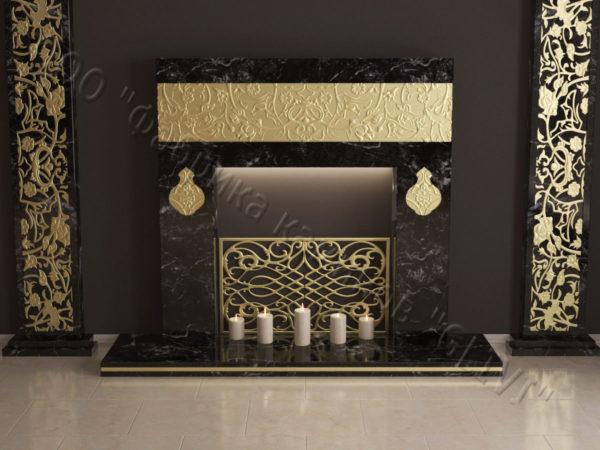 Мраморный каминный портал (облицовка) в восточном (арабском) стиле Саида, каталог (интернет-магазин) каминов из мрамора, изображение, фото 1