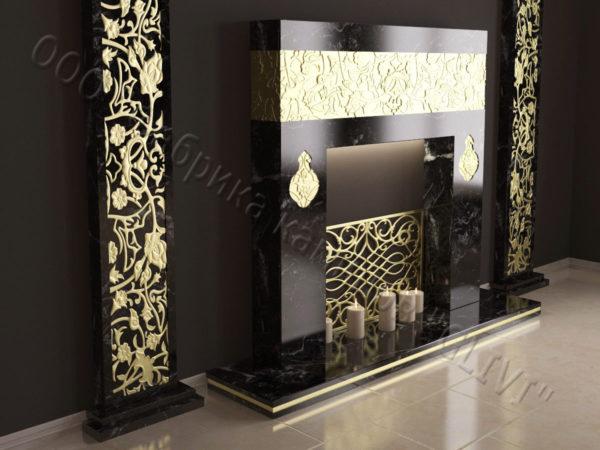 Мраморный каминный портал (облицовка) в восточном (арабском) стиле Саида, каталог (интернет-магазин) каминов из мрамора, изображение, фото 2