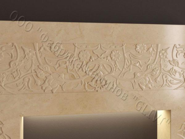 Мраморный каминный портал (облицовка) в восточном (арабском) стиле Саида, каталог (интернет-магазин) каминов из мрамора, изображение, фото 4