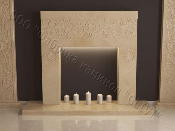 Мраморный каминный портал (облицовка) в восточном (арабском) стиле Саида, каталог (интернет-магазин) каминов из мрамора, изображение, фото 5