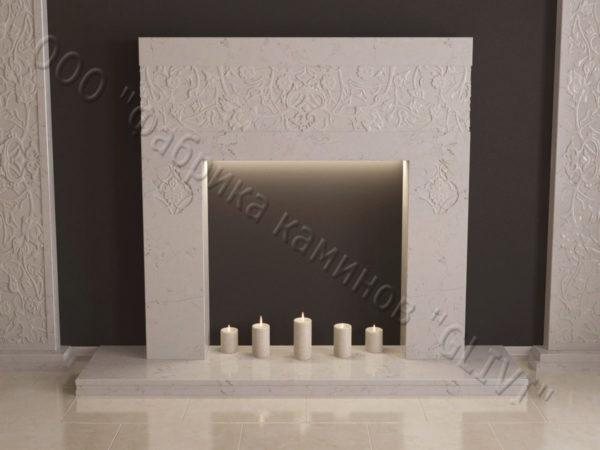 Мраморный каминный портал (облицовка) в восточном (арабском) стиле Саида, каталог (интернет-магазин) каминов из мрамора, изображение, фото 6