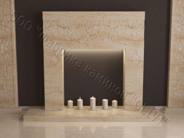 Мраморный каминный портал (облицовка) в восточном (арабском) стиле Саида, каталог (интернет-магазин) каминов из мрамора, изображение, фото 7