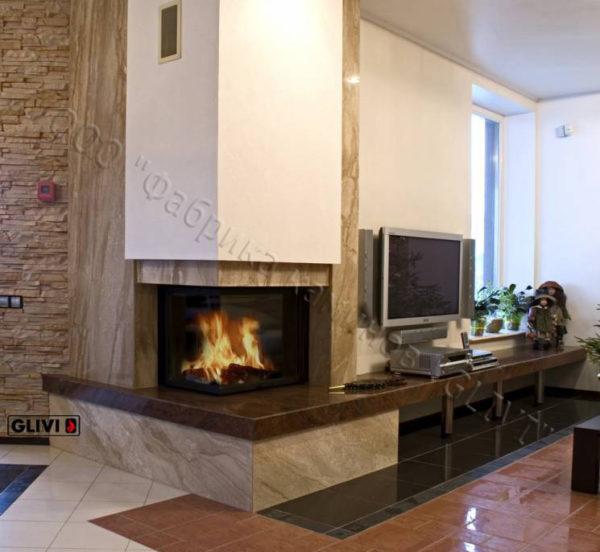 Угловой (пристенный) каминный портал (облицовка) Сан-Паулу с банкеткой, каталог (интернет-магазин) каминов, изображение, фото 1