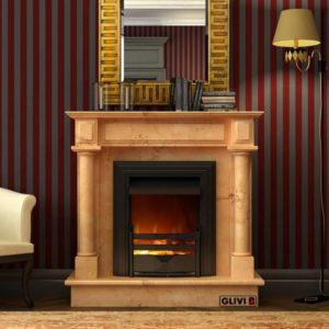 Мраморный каминный портал (облицовка) Санта-Фе, каталог (интернет-магазин) каминов из мрамора, изображение, фото 1