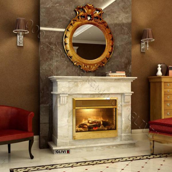 Мраморный каминный портал (облицовка) Санта-Лючия, каталог (интернет-магазин) каминов из мрамора, изображение, фото 1