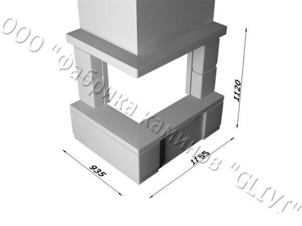 Угловой каминный портал (облицовка) Сан-Ремо без банкетки, каталог (интернет-магазин) каминов, изображение, фото 1