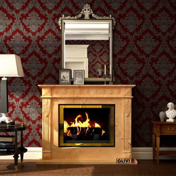 Мраморный каминный портал (облицовка) Санта-Роза, каталог (интернет-магазин) каминов из мрамора, изображение, фото 1