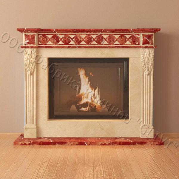 Мраморный каминный портал (облицовка) Санта-Роза, каталог (интернет-магазин) каминов из мрамора, изображение, фото 2