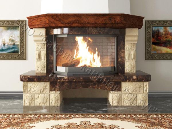 Мраморный каминный портал (облицовка) Сенатор без банкетки, каталог (интернет-магазин) каминов из мрамора, изображение, фото 1