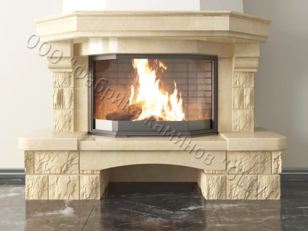 Мраморный каминный портал (облицовка) Сенатор без банкетки, каталог (интернет-магазин) каминов из мрамора, изображение, фото 2