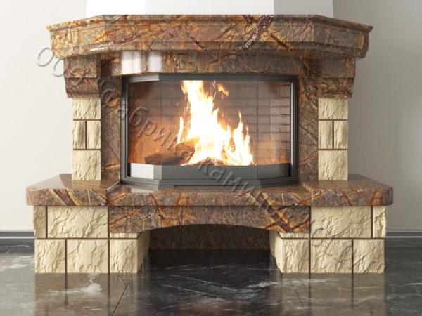 Мраморный каминный портал (облицовка) Сенатор без банкетки, каталог (интернет-магазин) каминов из мрамора, изображение, фото 3