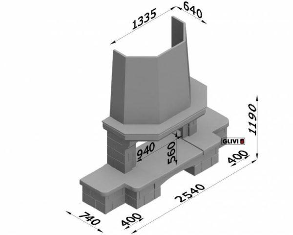 Фронтальный (прямой) камин Сенатор с банкеткой