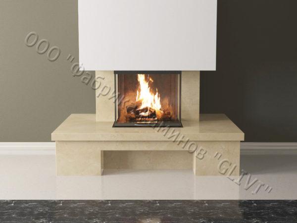 Мраморный каминный портал (облицовка) Сенсэй без банкетки, каталог (интернет-магазин) каминов из мрамора, изображение, фото 2