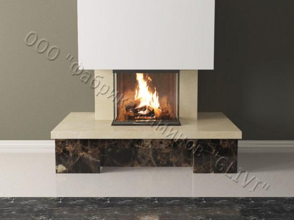 Мраморный каминный портал (облицовка) Сенсэй без банкетки, каталог (интернет-магазин) каминов из мрамора, изображение, фото 3