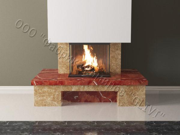 Мраморный каминный портал (облицовка) Сенсэй без банкетки, каталог (интернет-магазин) каминов из мрамора, изображение, фото 4