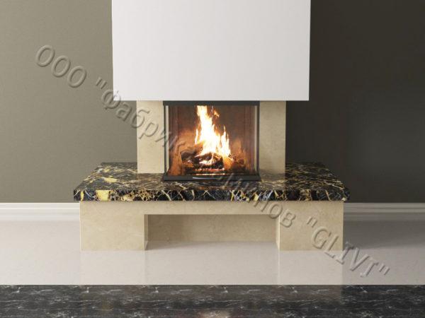 Мраморный каминный портал (облицовка) Сенсэй без банкетки, каталог (интернет-магазин) каминов из мрамора, изображение, фото 5