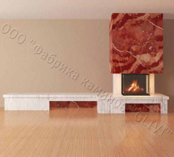 Мраморный каминный портал (облицовка) Сенсэй c банкеткой, каталог (интернет-магазин) каминов из мрамора, изображение, фото 5