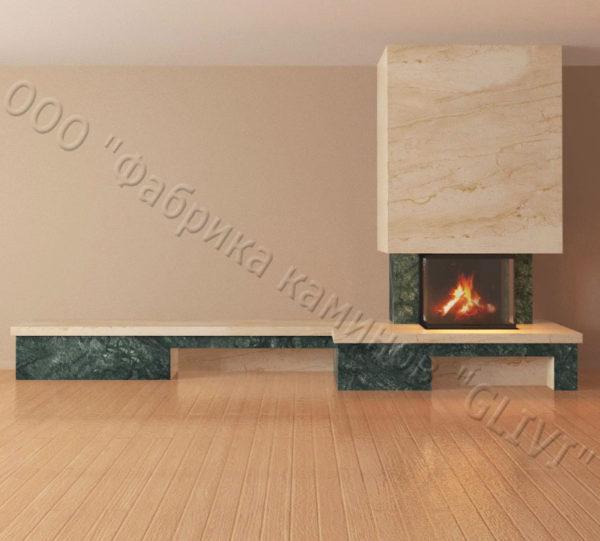 Мраморный каминный портал (облицовка) Сенсэй c банкеткой, каталог (интернет-магазин) каминов из мрамора, изображение, фото 6