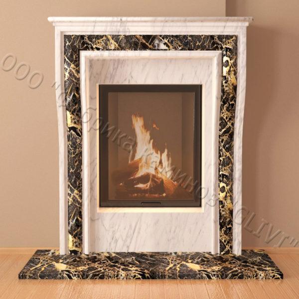 Мраморный каминный портал (облицовка) Шарлеруа, каталог (интернет-магазин) каминов из мрамора, изображение, фото 2