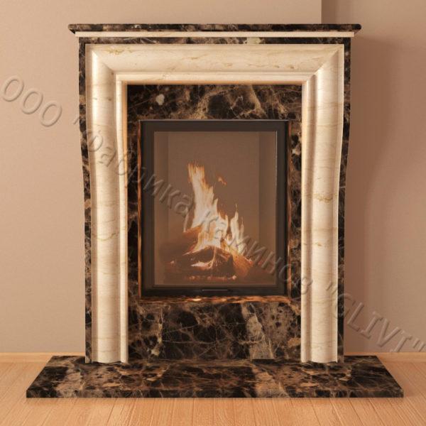 Мраморный каминный портал (облицовка) Шарлеруа, каталог (интернет-магазин) каминов из мрамора, изображение, фото 3