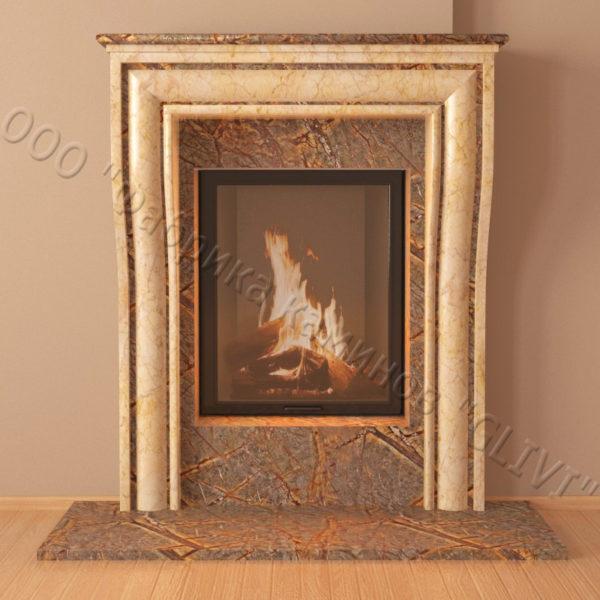 Мраморный каминный портал (облицовка) Шарлеруа, каталог (интернет-магазин) каминов из мрамора, изображение, фото 4