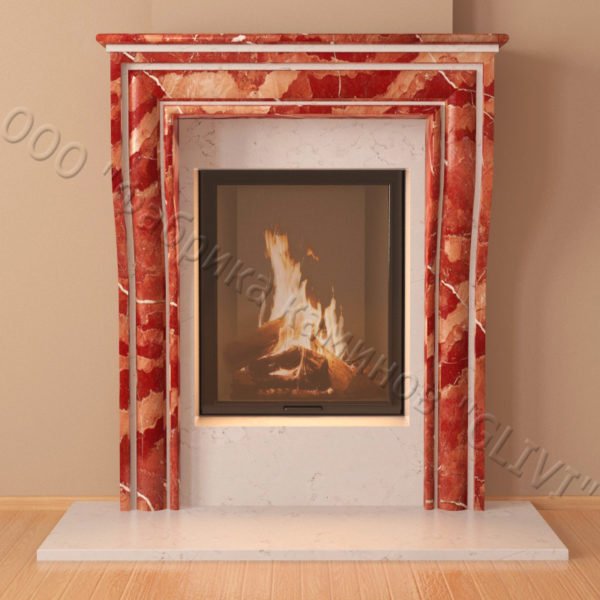 Мраморный каминный портал (облицовка) Шарлеруа, каталог (интернет-магазин) каминов из мрамора, изображение, фото 5