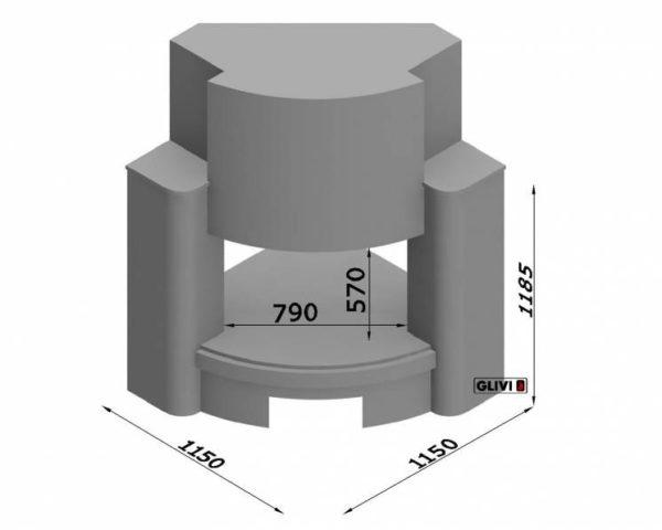 Угловой (пристенный) каминный портал (облицовка) Сиэттл, каталог (интернет-магазин) каминов, изображение, фото 7
