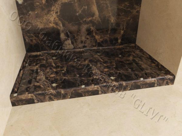 Поддон для душа Сильвия мраморный, каталог душевых поддонов из камня, изображение, фото 3