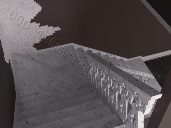 Лестница из натурального мрамора Сирин, интернет-магазин лестниц, изображение, фото 2