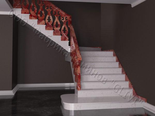 Лестница из натурального мрамора Сирин, интернет-магазин лестниц, изображение, фото 4