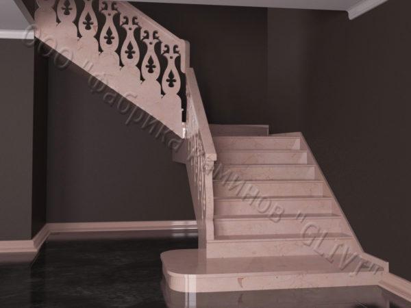 Лестница из натурального мрамора Сирин, интернет-магазин лестниц, изображение, фото 8