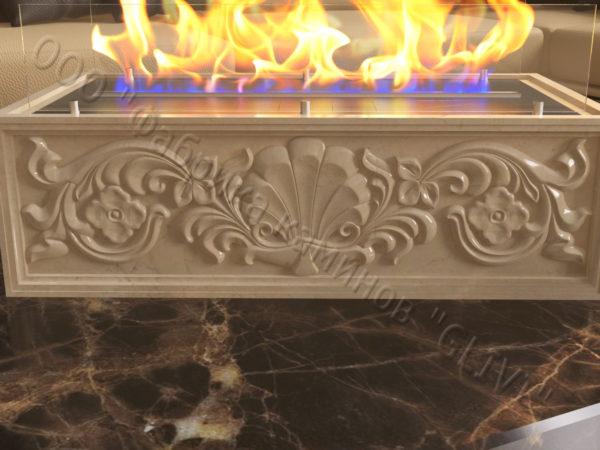 Мраморная облицовка (каминный портал) для камина на биотопливе Тапси, каталог (интернет-магазин) каминов из мрамора, изображение, фото 2