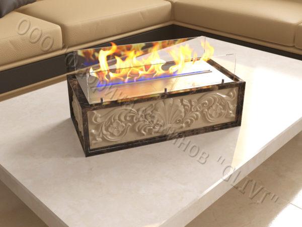Мраморная облицовка (каминный портал) для камина на биотопливе Тапси, каталог (интернет-магазин) каминов из мрамора, изображение, фото 3