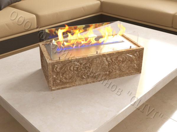 Мраморная облицовка (каминный портал) для камина на биотопливе Тапси, каталог (интернет-магазин) каминов из мрамора, изображение, фото 4
