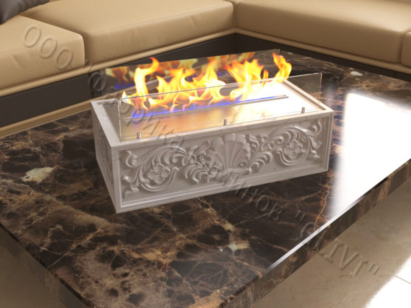 Мраморная облицовка (каминный портал) для камина на биотопливе Тапси, каталог (интернет-магазин) каминов из мрамора, изображение, фото 5