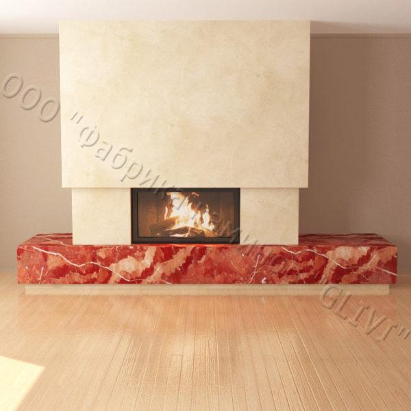 Мраморный каминный портал (облицовка) Тартл без банкетки, каталог (интернет-магазин) каминов из мрамора, изображение, фото 3