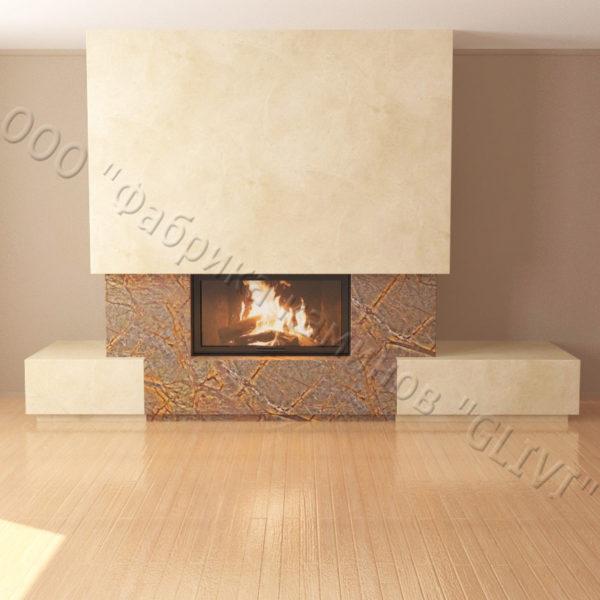 Мраморный каминный портал (облицовка) Тартл без банкетки, каталог (интернет-магазин) каминов из мрамора, изображение, фото 4