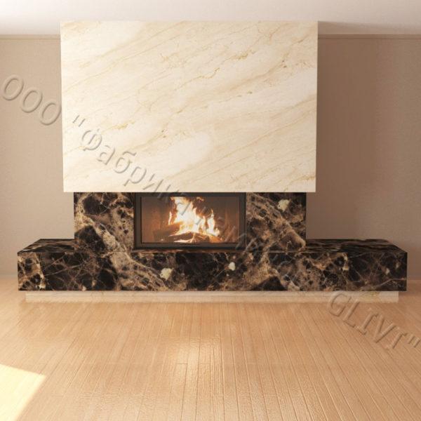 Мраморный каминный портал (облицовка) Тартл без банкетки, каталог (интернет-магазин) каминов из мрамора, изображение, фото 5