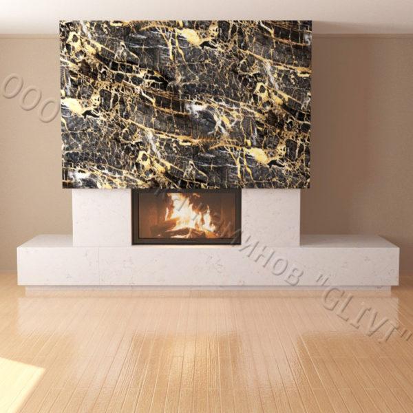 Мраморный каминный портал (облицовка) Тартл без банкетки, каталог (интернет-магазин) каминов из мрамора, изображение, фото 6
