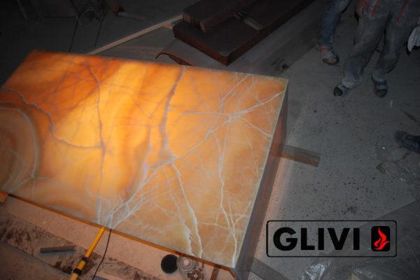 Декоративная подсветка плиты из оникса Урания, изображение, фото 6