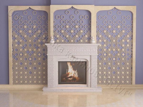 Мраморный каминный портал (облицовка) в восточном (арабском) стиле Ваиль, каталог (интернет-магазин) каминов из мрамора, изображение, фото 1