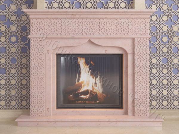 Мраморный каминный портал (облицовка) в восточном (арабском) стиле Ваиль, каталог (интернет-магазин) каминов из мрамора, изображение, фото 10