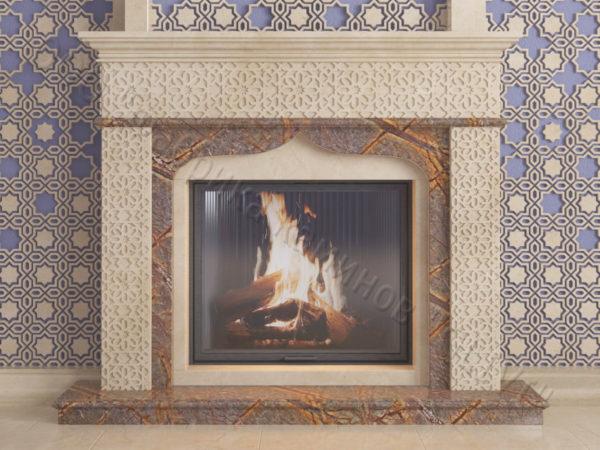 Мраморный каминный портал (облицовка) в восточном (арабском) стиле Ваиль, каталог (интернет-магазин) каминов из мрамора, изображение, фото 11