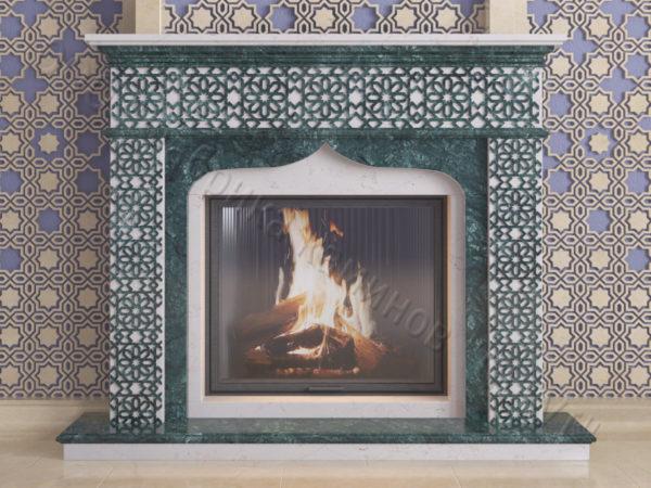Мраморный каминный портал (облицовка) в восточном (арабском) стиле Ваиль, каталог (интернет-магазин) каминов из мрамора, изображение, фото 12