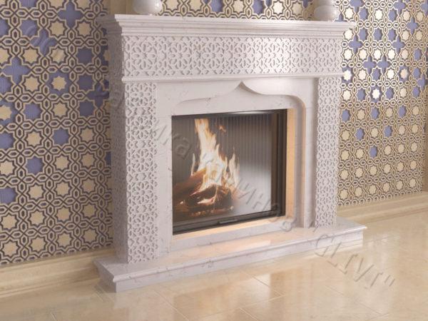 Мраморный каминный портал (облицовка) в восточном (арабском) стиле Ваиль, каталог (интернет-магазин) каминов из мрамора, изображение, фото 2