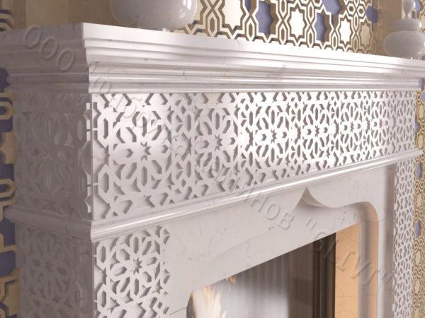 Мраморный каминный портал (облицовка) в восточном (арабском) стиле Ваиль, каталог (интернет-магазин) каминов из мрамора, изображение, фото 3