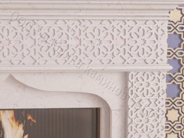 Мраморный каминный портал (облицовка) в восточном (арабском) стиле Ваиль, каталог (интернет-магазин) каминов из мрамора, изображение, фото 4