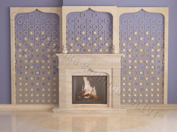 Мраморный каминный портал (облицовка) в восточном (арабском) стиле Ваиль, каталог (интернет-магазин) каминов из мрамора, изображение, фото 5