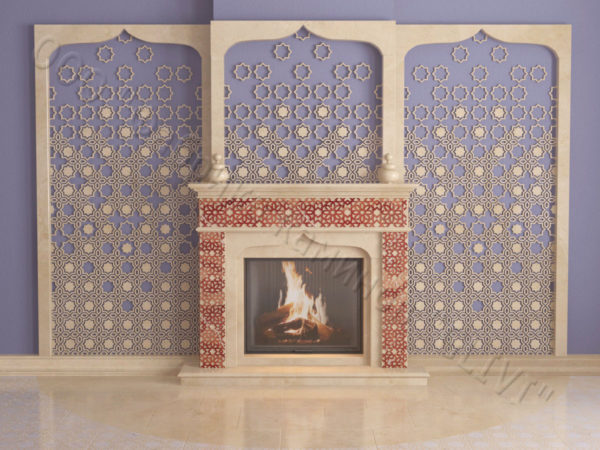 Мраморный каминный портал (облицовка) в восточном (арабском) стиле Ваиль, каталог (интернет-магазин) каминов из мрамора, изображение, фото 6